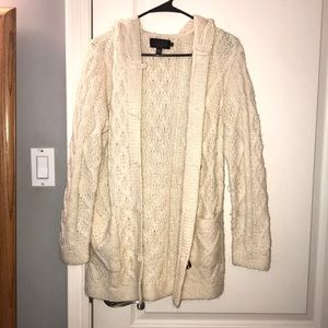 Cream Knit Button Up Long Sweater